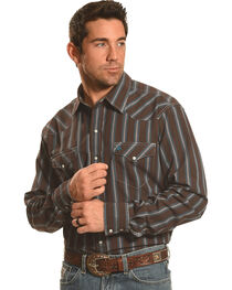 Garth Brooks Sevens by Cinch Men's Brown Dobby Stripe Western Shirt , , hi-res