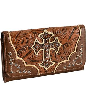 Blazin Roxx Women's Faux Tooled Leather Cross Flap Wallet, Tan, hi-res