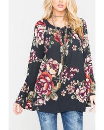 Miss Me Women's Black Floral Printed Bell Sleeve Top , , hi-res