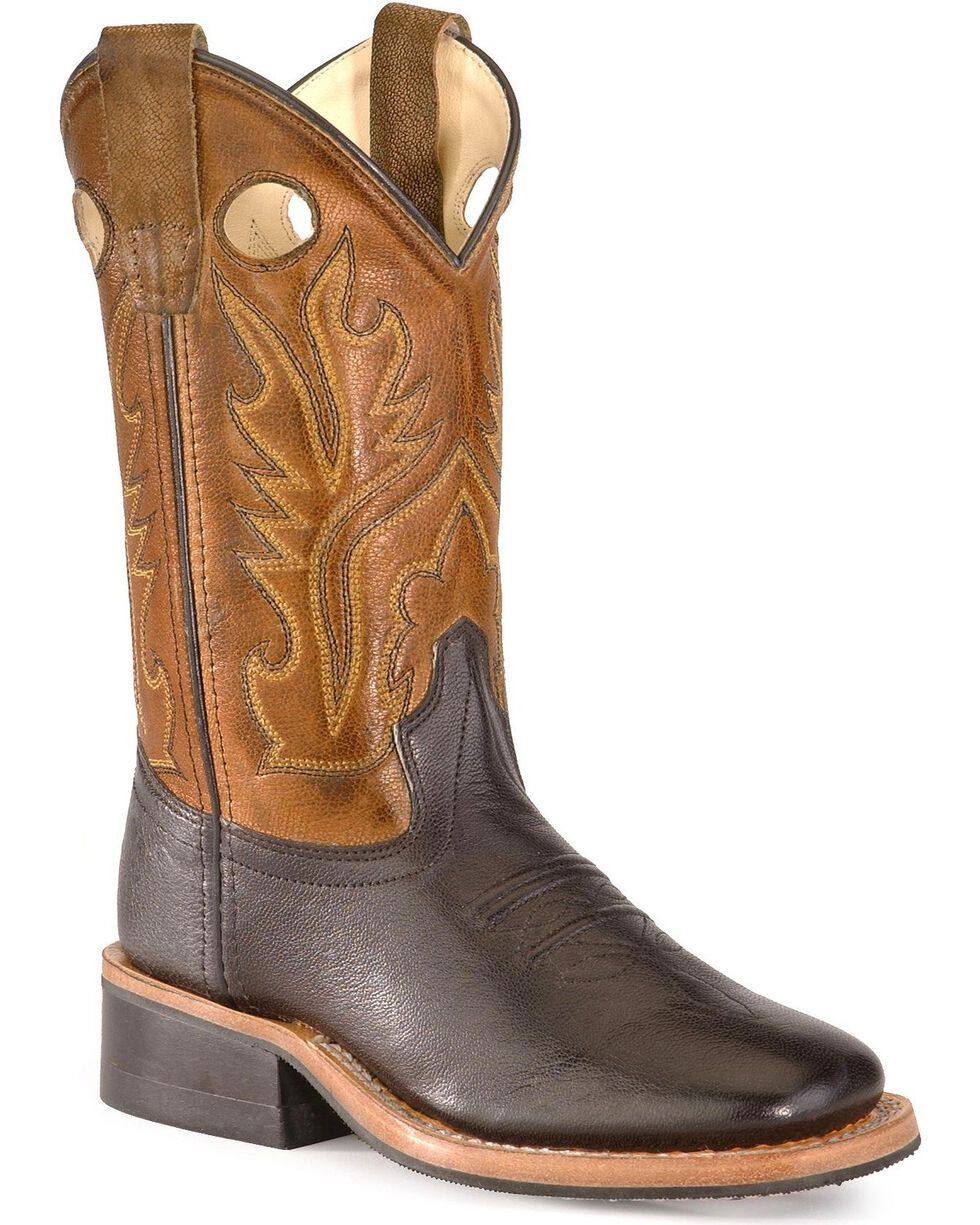 Old West Toddlers' Corona Cowboy Boots - Square Toe, Black, hi-res