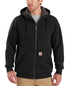 Carhartt Men's Rain Defender Rockland Sherpa-Lined Full-Zip Hooded Sweatshirt , Black, hi-res