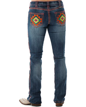 Cowgirl Tuff Women's Southwest Vibe Boot Cut Jeans , Blue, hi-res