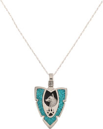 Silver Legends Women's Wolf and Paw Arrowhead Necklace , , hi-res