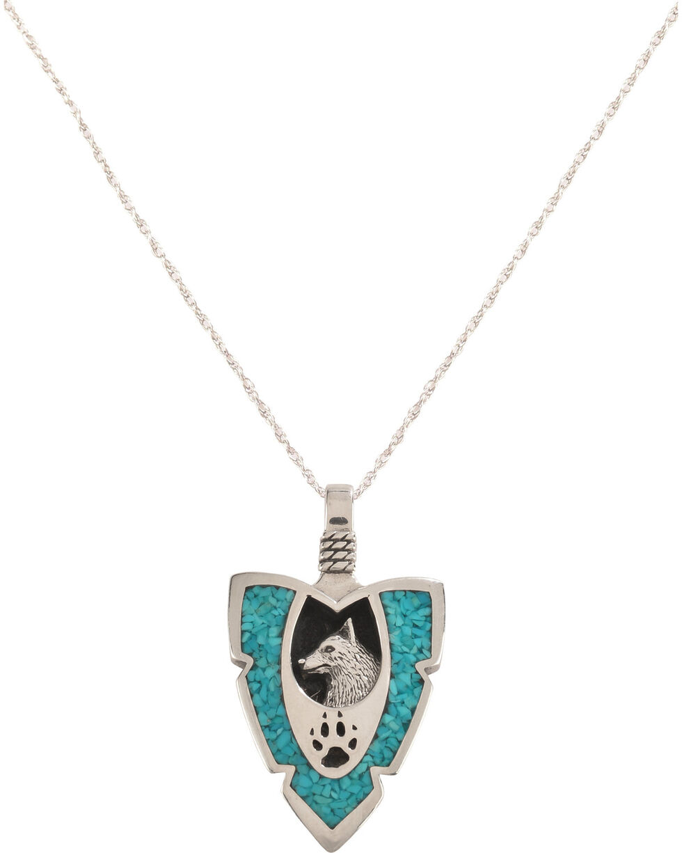 Silver Legends Women's Wolf and Paw Arrowhead Necklace , Turquoise, hi-res