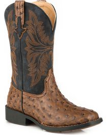 Roper Boys' Jed Faux Brown Ostrich Cowboy Boots - Square Toe, , hi-res