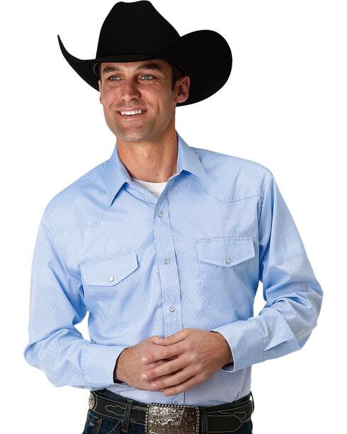 Roper Men's Blue Diamond Tone On Tone Shirt , Blue, hi-res