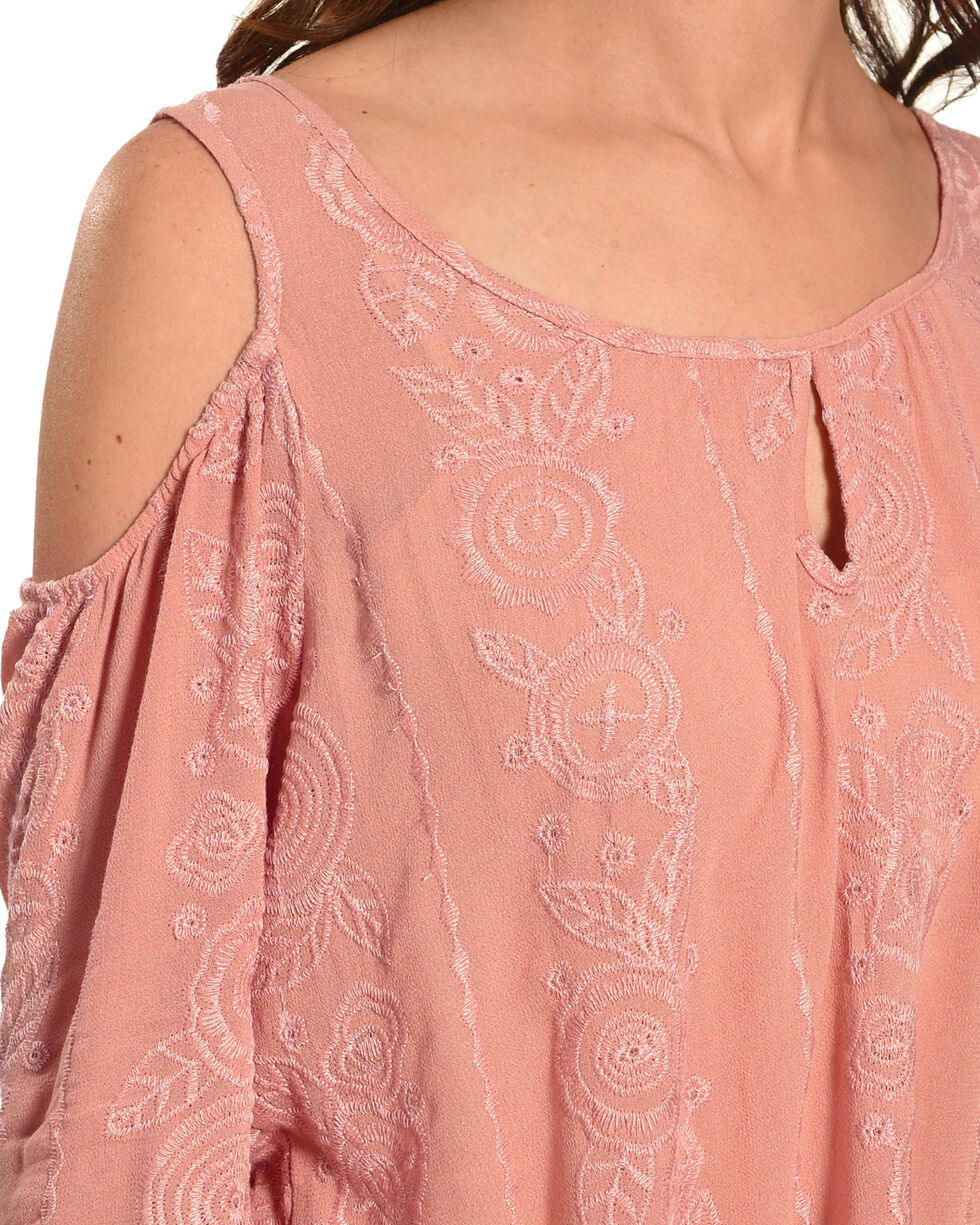 Ivory Love Women's Mauve Embroidered Cold Shoulder Top, Mauve, hi-res