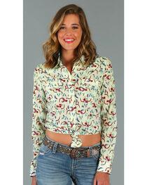 Wrangler Women's Long Sleeve Steer Print Snap Shirt, , hi-res