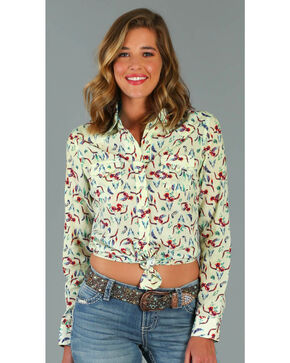 Wrangler Women's Long Sleeve Steer Print Snap Shirt, Multi, hi-res