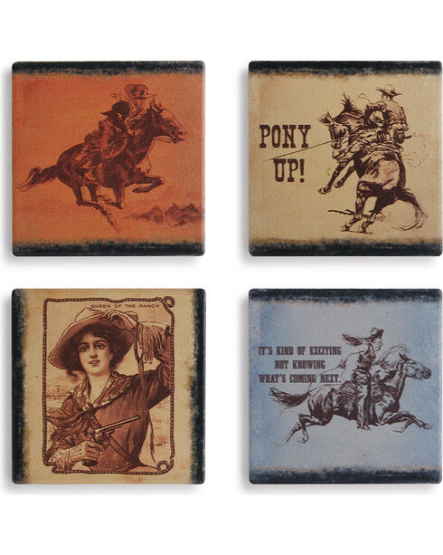 Big Sky Carvers Western Coaster Set of 4, Multi, hi-res