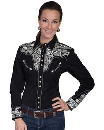 Scully Women's Floral Embroidered Long Sleeve Western Shirt, , hi-res