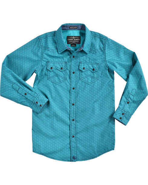 Cody James Boys' Blue Sphere Long Sleeve Shirt, Turquoise, hi-res