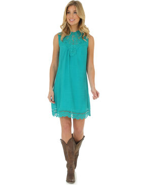 Wrangler Women's Medium Blue High Collar Pieced Crochet Dress , Med Blue, hi-res