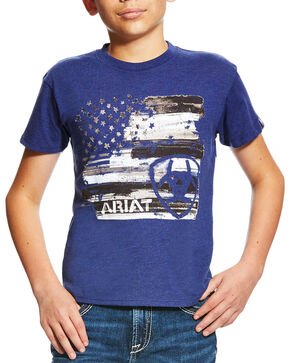 Ariat Boys' Americana Short Sleeve Tee, Blue, hi-res