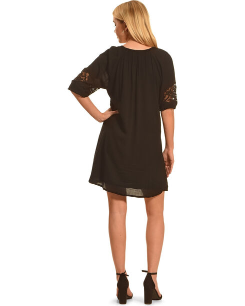 Angel Ranch Women's Black Lace Peasant Dress , Black, hi-res