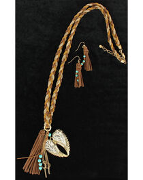 Blazin Roxx Heartwing Braided Leather Necklace & Earrings Set, , hi-res