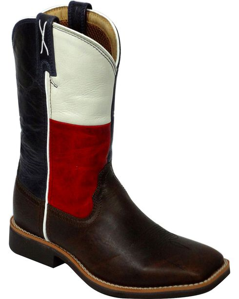 Twisted X Kids' Texas Flag Western Work Boots, Chocolate, hi-res