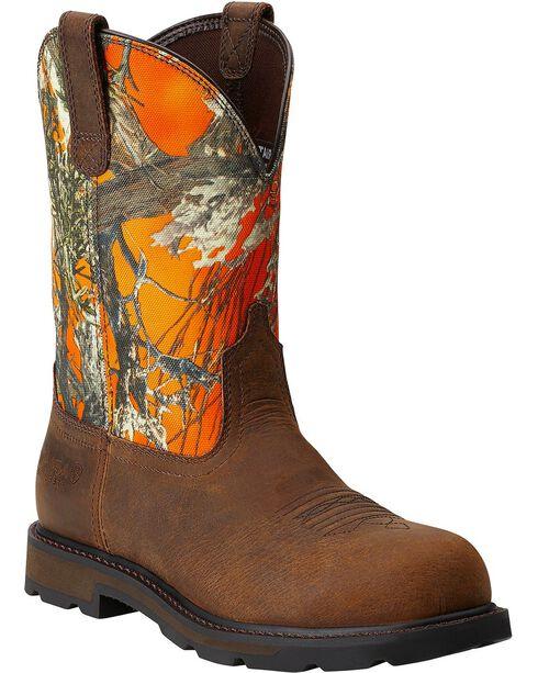 Ariat Men's Groundbreaker Pull-On ST Work Boots, Dark Brown, hi-res