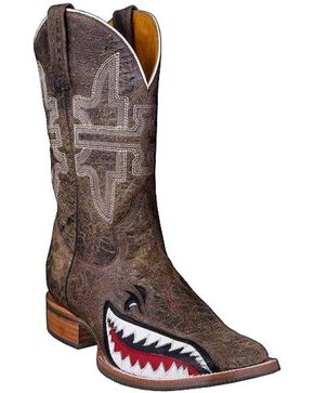 Tin Haul Men's Toastin' A Gnarly Shark Western Boots, Brn Bomber, hi-res