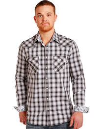 Rough Stock by Panhandle Men's Silver Ombre Plaid Shirt , , hi-res