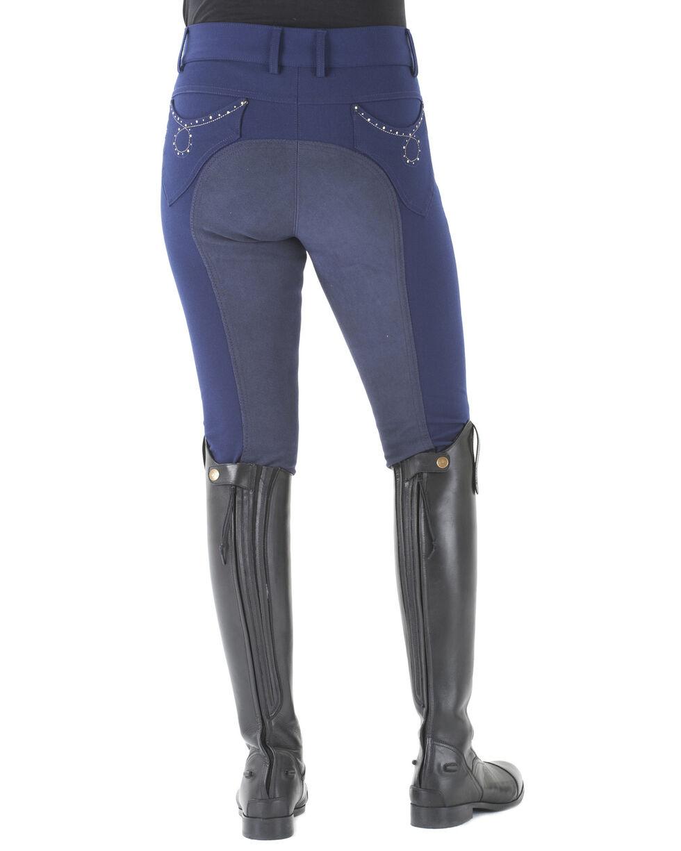 Ovation Women's Sorrento Full Seat Breeches, Navy, hi-res