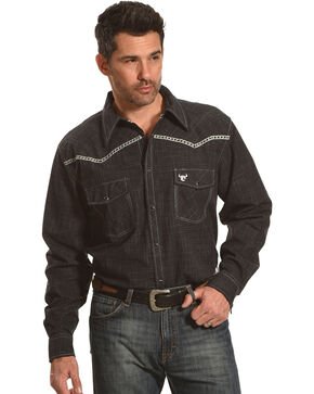 Cowboy Hardware Men's Burlap Print Long Sleeve Shirt, Black, hi-res