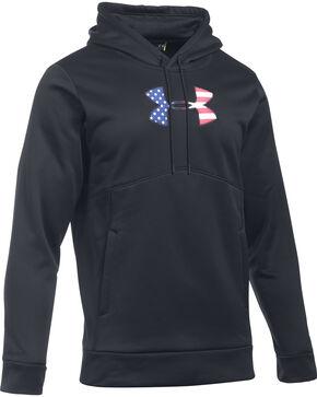 Under Armour Men's Black Big Flag Logo Icon Hoodie, Black, hi-res