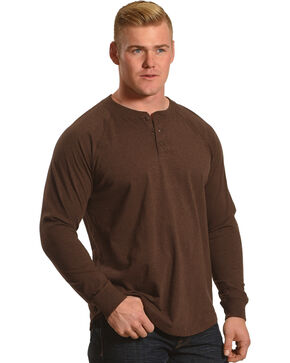 Cody James Men's Classic Long Sleeve Henley , Brown, hi-res