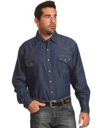Ely Cattleman Men's Solid Denim Long Sleeve Shirt , , hi-res