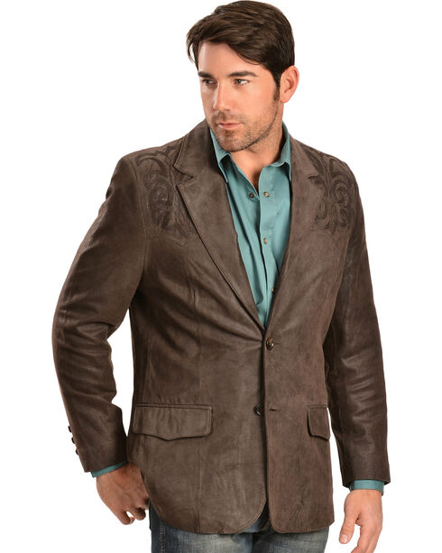 Scully Leather Boot Stitch Blazer, Chocolate, hi-res