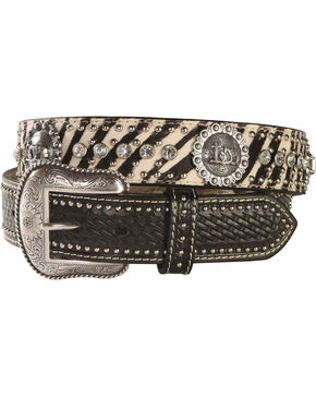 Zebra Print Hair-on-Hide Cowboy Prayer Concho Western Belt, Multi, hi-res