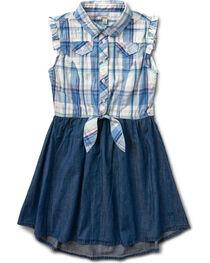 Silver Girls' Blue Half Plaid Dress, , hi-res