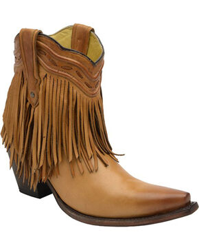 Corral Women's Fringe and Whip Stitch Short Boots, Tan, hi-res