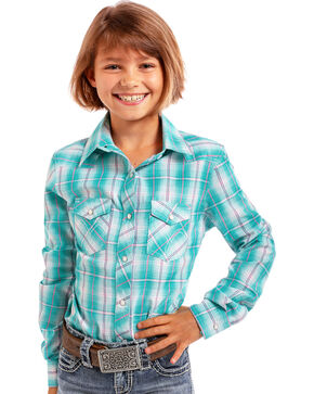 Panhandle Girls' Turquoise Plaid Long Sleeve Snap Shirt, Turquoise, hi-res
