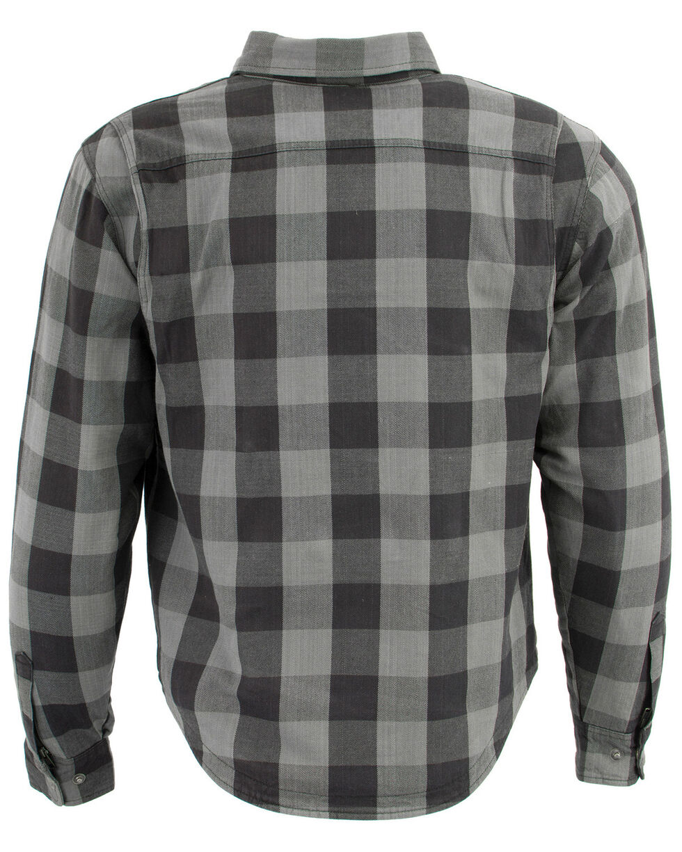 Milwaukee Performance Men's Aramid Checkered Plaid Biker Shirt - 5X, Dark Grey, hi-res