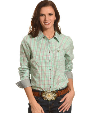 Cinch Women's Mint Checkered Plain Long Sleeve Button Down Shirt, Green, hi-res