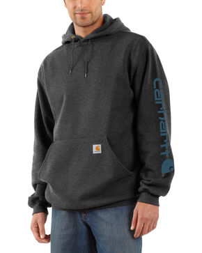 Carhartt Logo Hooded Sweatshirt, Grey, hi-res