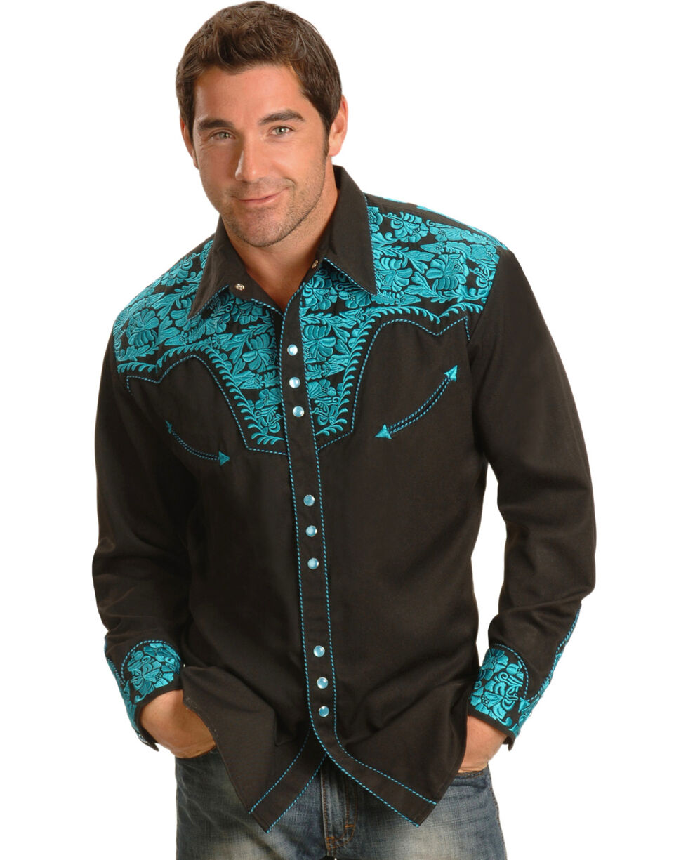 Scully Men's Turquoise Embroidered Gunfighter Shirt, , hi-res