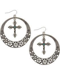 Shyanne® Women's Cross & Hoop Earrings, , hi-res
