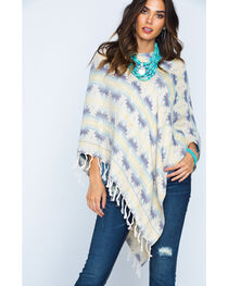 Ryan Michael Women's Southwest Jacquard Poncho, , hi-res