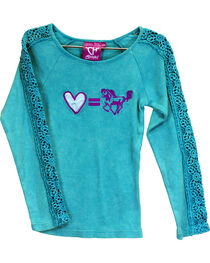 Cowgirl Hardware Girls' Turquoise Love Equals Horses Lace Shirt , , hi-res