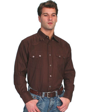 Scully Tone-on-tone Dobby Striped Western Shirt, Brown, hi-res