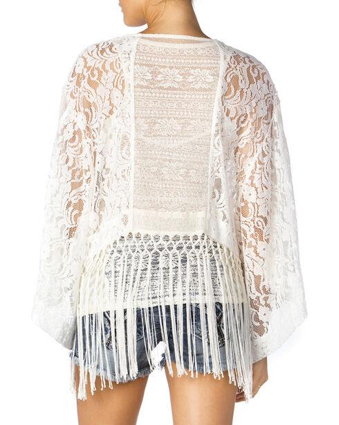 Miss Me White Crochet Fringe Kimono, White, hi-res