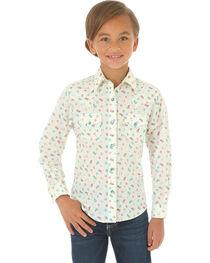 Wrangler Girls' Cream Double Pocket Snap Print Shirt , Cream, hi-res