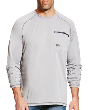Ariat Men's Rebar Sunstopper Long Sleeve Tee, Grey, hi-res