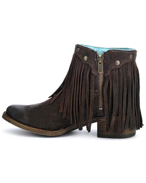 Corral Women's Fringe Round Toe Western Booties, Brown, hi-res