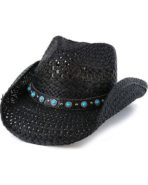 Shyanne® Women's Alabama Straw Hat, Black, hi-res