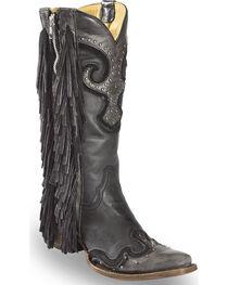 Corral Women's Black Studded Fringe Cowgirl Boots - Snip Toe , , hi-res