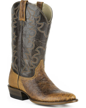 Roper Men's Sea Turtle Print Western Boots, Brown, hi-res
