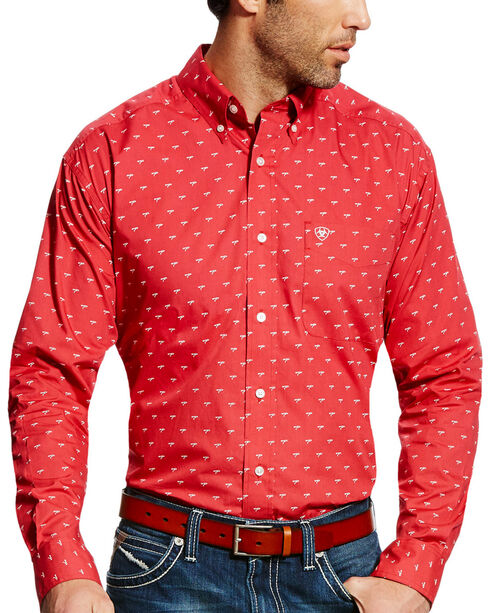 Ariat Men's Red Colton Print Western Shirt , Red, hi-res